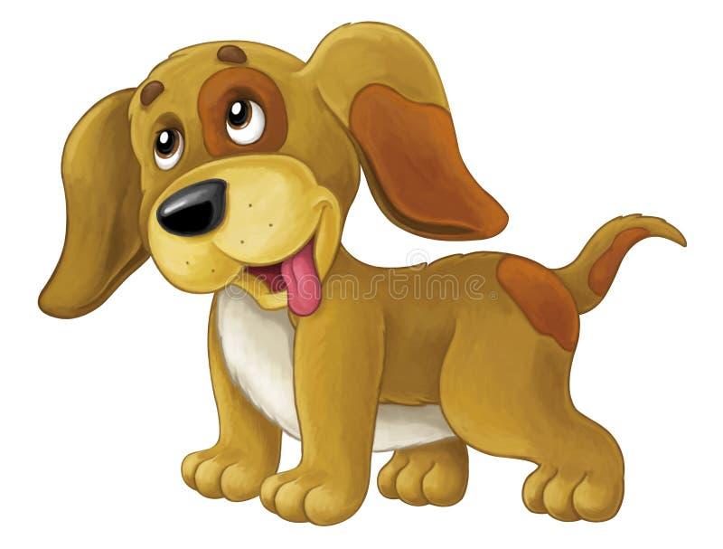 Glücklicher Hund der Karikatur ist stehend und - künstlerische Art - lokalisiert schauend lizenzfreie abbildung