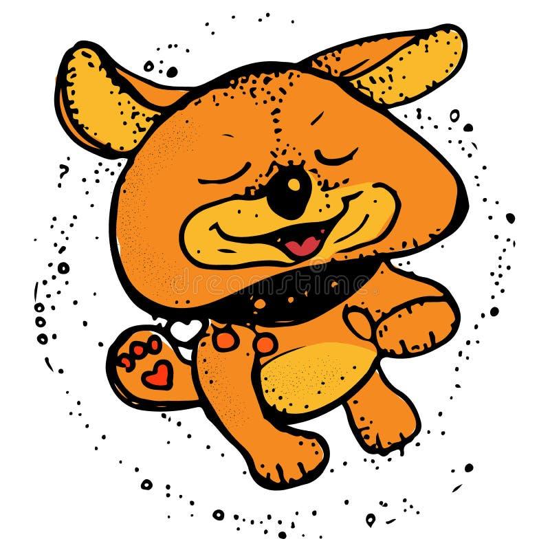 Glücklicher Hundebetrieb Welpencharakterkarikatur-Vektorillustration stock abbildung