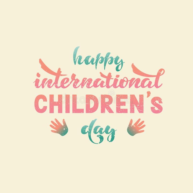Glücklicher internationaler Tag der Kind s Vektor beschriftung vektor abbildung