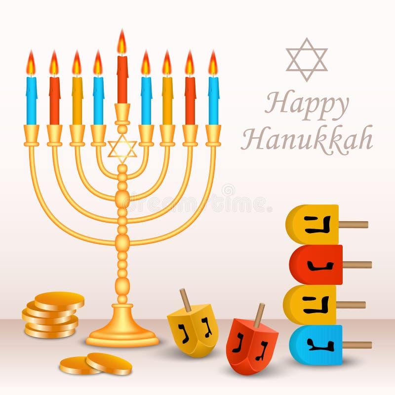 Glücklicher jüdischer Chanukka-Konzepthintergrund, realistische Art vektor abbildung