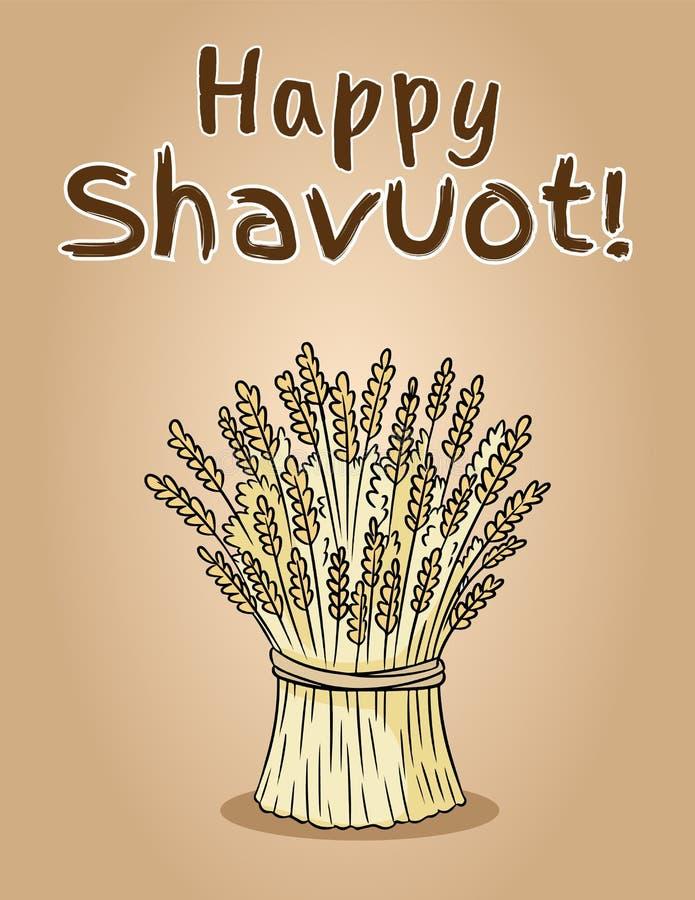Glücklicher jüdischer Nationalfeiertag Shavuot Garbe des Weizenbündels stockbilder