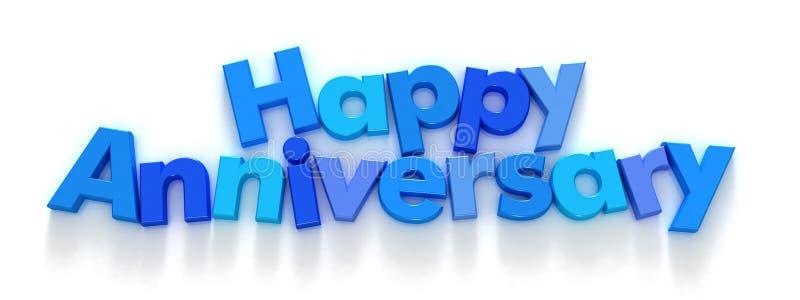 Glücklicher Jahrestag in den blauen Zeichenmagneten stock abbildung