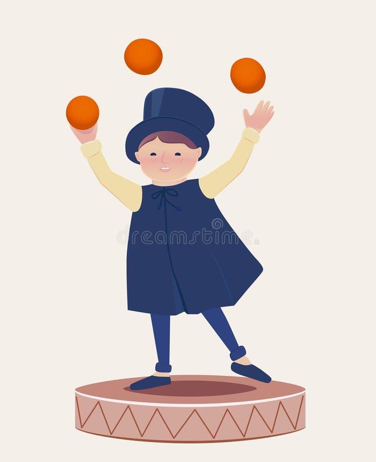 Glücklicher Jongleur Boy Cartooned auf eine Plattform lizenzfreie abbildung