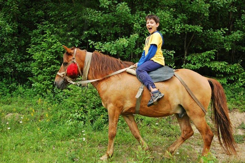 Glücklicher Junge, der ein Pferd reitet lizenzfreie stockbilder