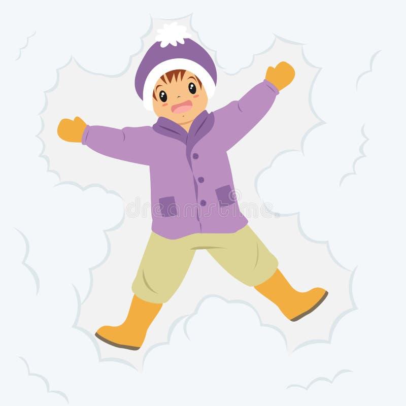 Glücklicher Junge, der im Schnee-Karikatur-Vektor liegt stock abbildung