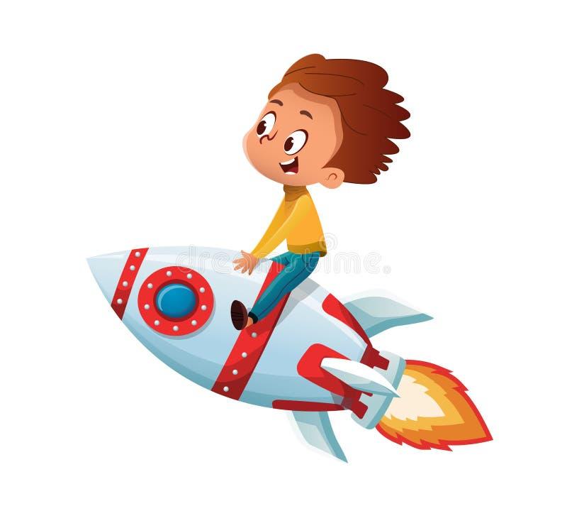 Glücklicher Junge, der und im Raum sich vorstellen fährt eine Spielzeugweltraumrakete spielt Der kleine Junge unzufrieden gemacht vektor abbildung