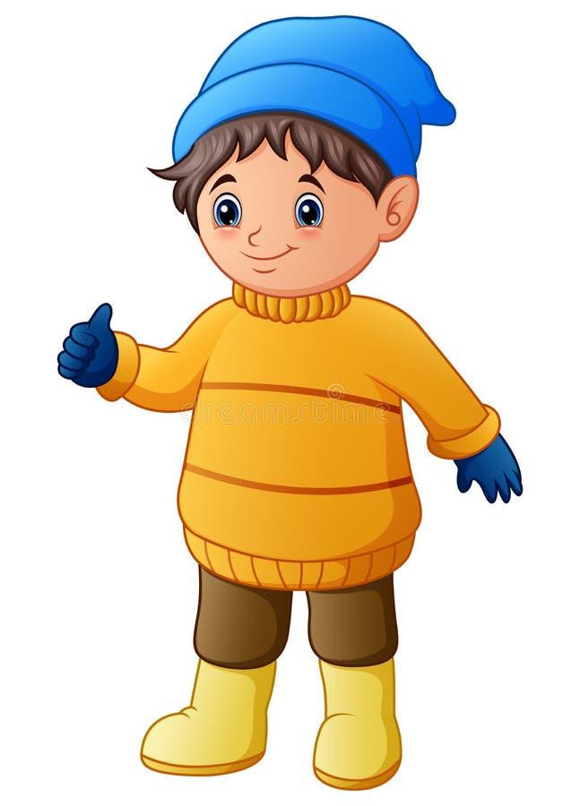 Glücklicher Junge im gelben Winter kleidet Daumen aufgeben vektor abbildung