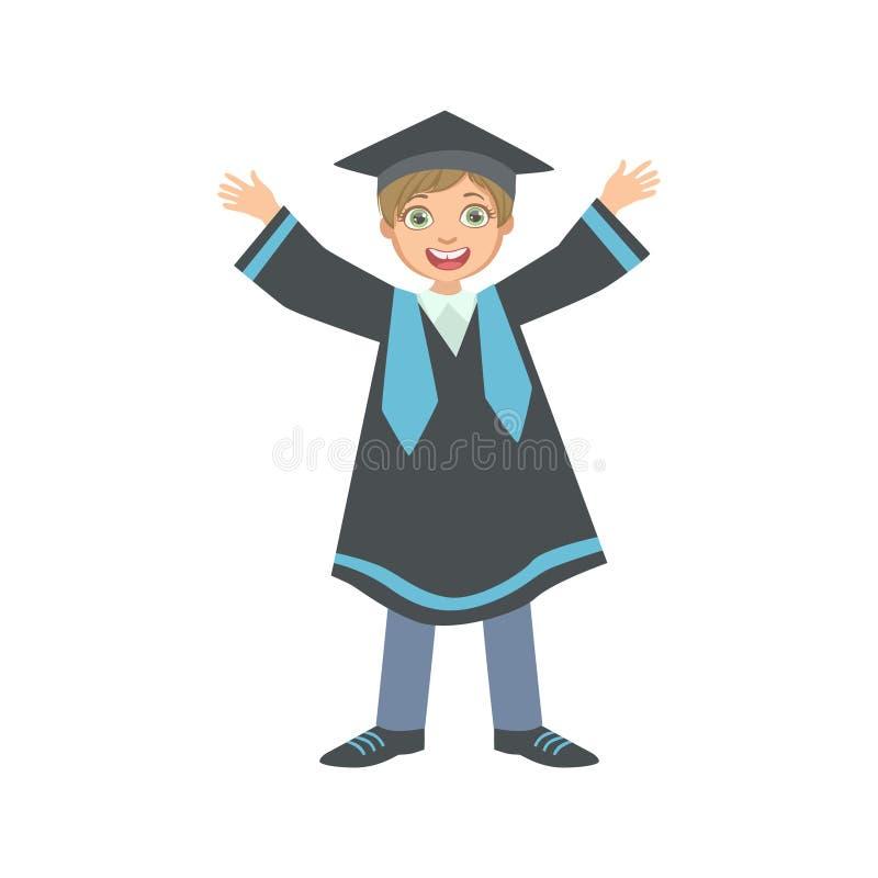 Glücklicher Junge im Staffelungs-Umhang und im quadratischen schwarzen Hut lizenzfreie abbildung