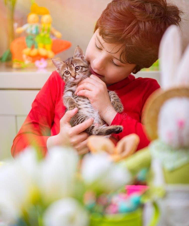 Glücklicher Junge mit kleiner Katze stockfotografie