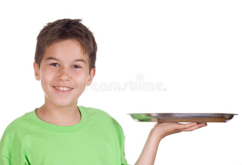 Glücklicher Junge mit leerem Tellersegment lizenzfreie stockbilder