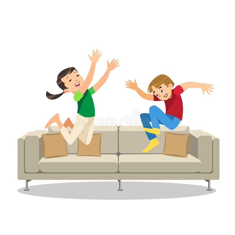 Glücklicher Junge und Mädchen, die auf Sofa Cartoon Vector springt stock abbildung
