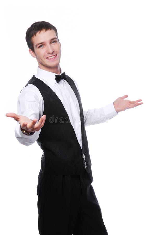 Glücklicher junger Kellner stockbilder