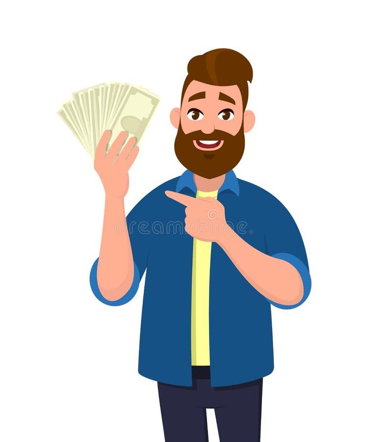 Glücklicher junger Mann, der Bargeld/Geld/die Banknoten, zeigend auf es hält stock abbildung