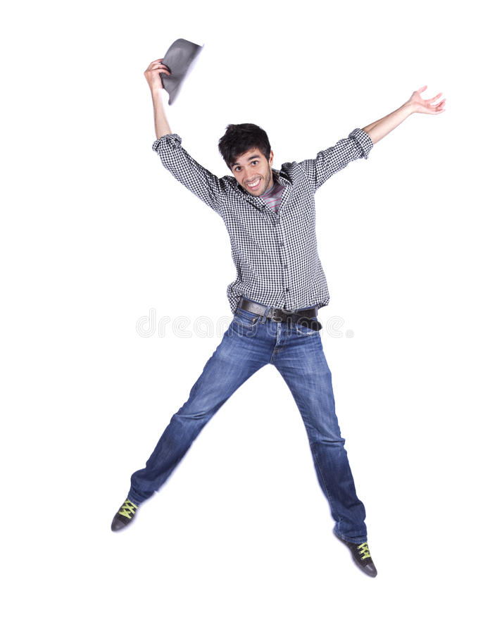 Glücklicher junger Mann springen lizenzfreies stockfoto