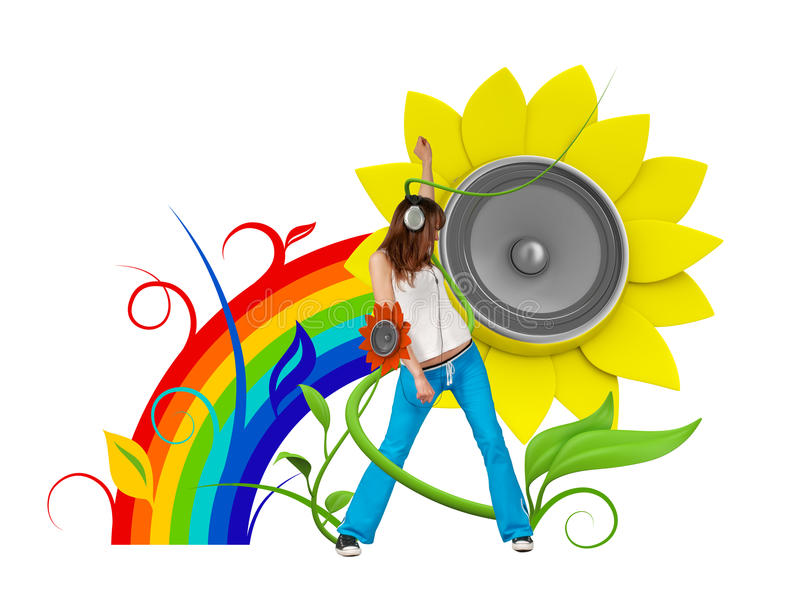 Glücklicher junger Musikfan lizenzfreie abbildung