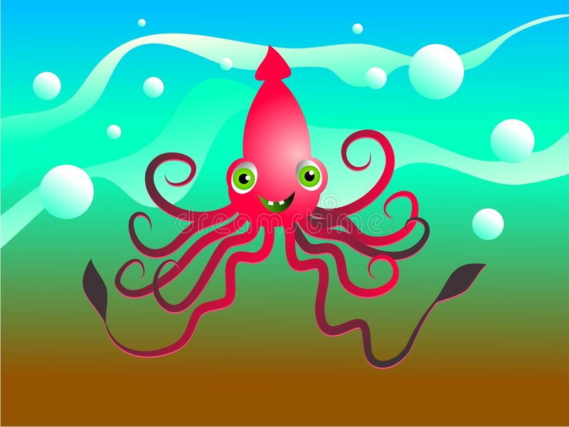 Glücklicher Kalmar vektor abbildung