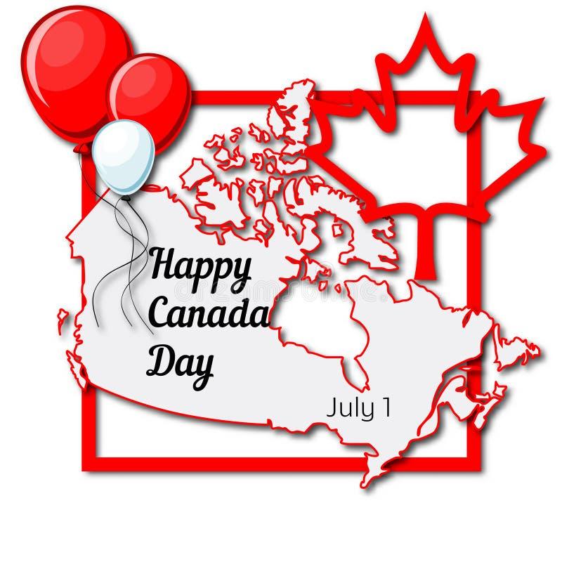 Glücklicher Kanada-Tag am 1. Juli Grußkartenschablone mit Kanada-Karte, Ahornblatt, rote und weiße Ballone, Rahmen und Text vektor abbildung