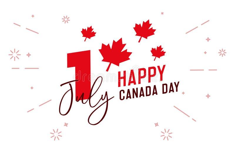 Glücklicher Kanada-Tag, zuerst von Juli Typografische Designillustration des Vektors Kanadische Flaggenfarben und Ahornblattform stock abbildung