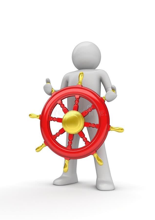 Glücklicher Kapitän, der das Rad steuert lizenzfreie abbildung