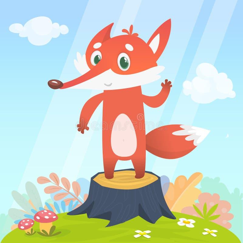 Glücklicher Karikaturfuchscharakter Vector die Illustration des Fuchses lokalisiert auf buntem Waldhintergrund vektor abbildung