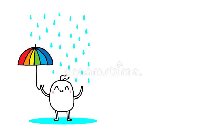 Glücklicher Karikaturmann mit Regenbogenregenschirm unter starkem Regen Vektorhand gezeichnete Abbildung Vibrierende Farben stock abbildung