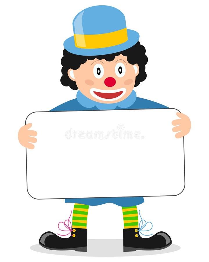 Glücklicher kleiner Clown mit Fahne lizenzfreie abbildung