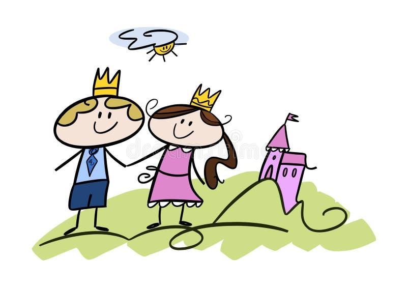 Glücklicher kleiner Prinz und Prinzessin stock abbildung