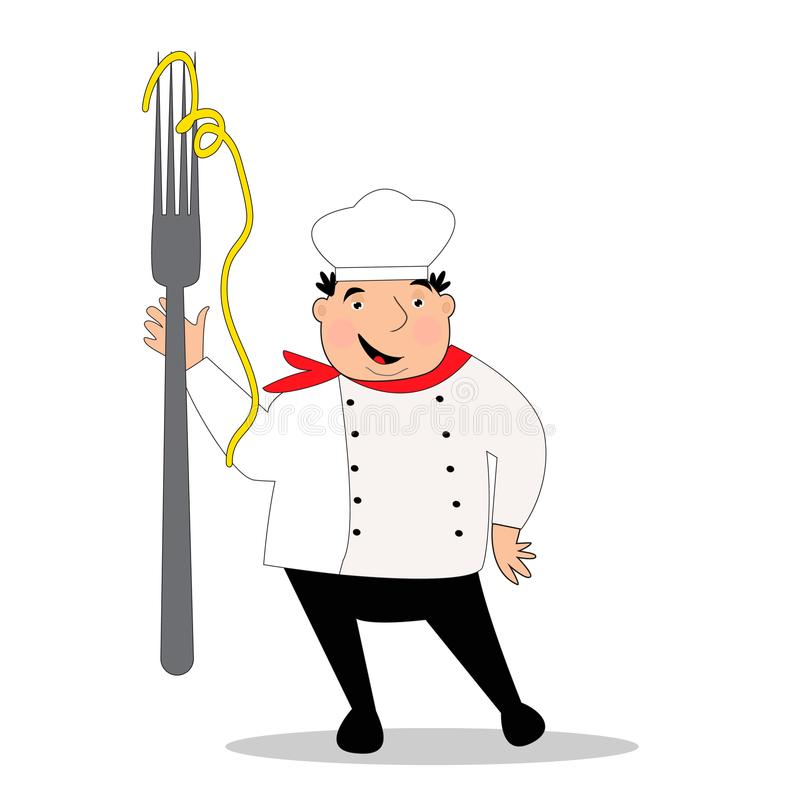 Glücklicher Koch mit Hut in der Uniform Chef mit großer Gabel lizenzfreie abbildung