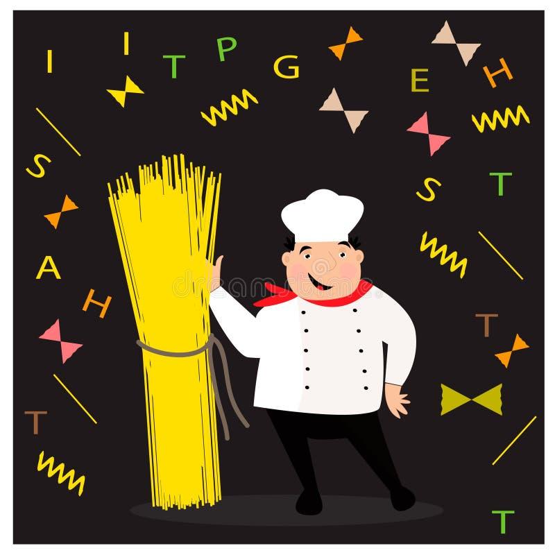 Glücklicher Koch mit Hut in der Uniform Chef With Spaghetti stock abbildung