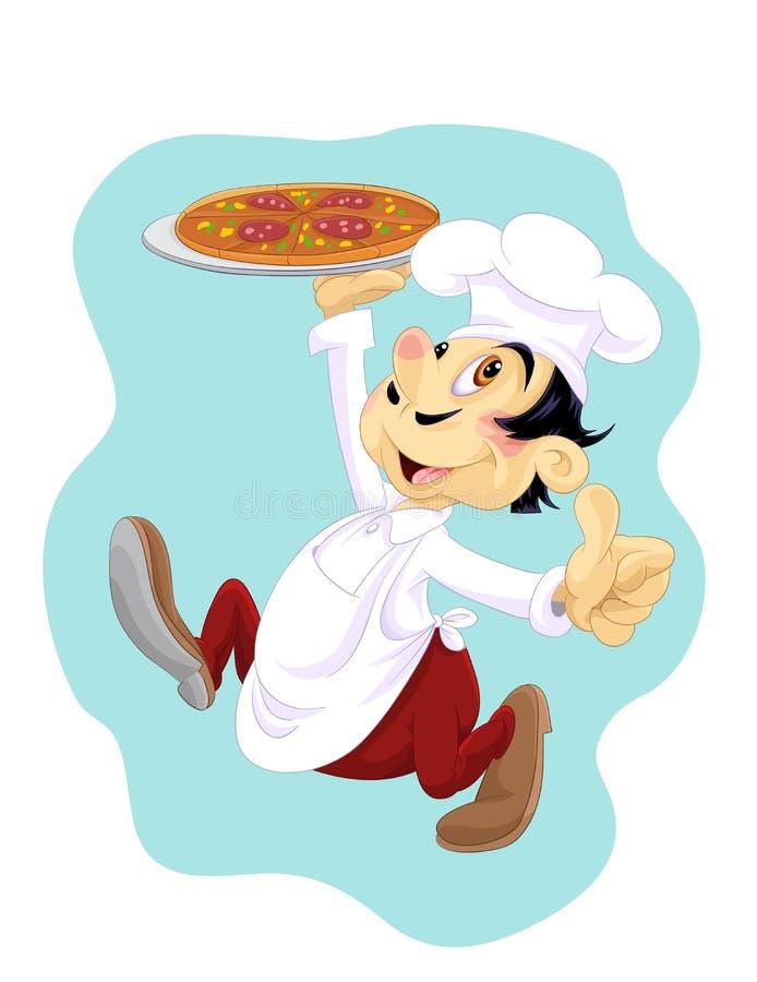 Glücklicher Koch mit Pizza vektor abbildung