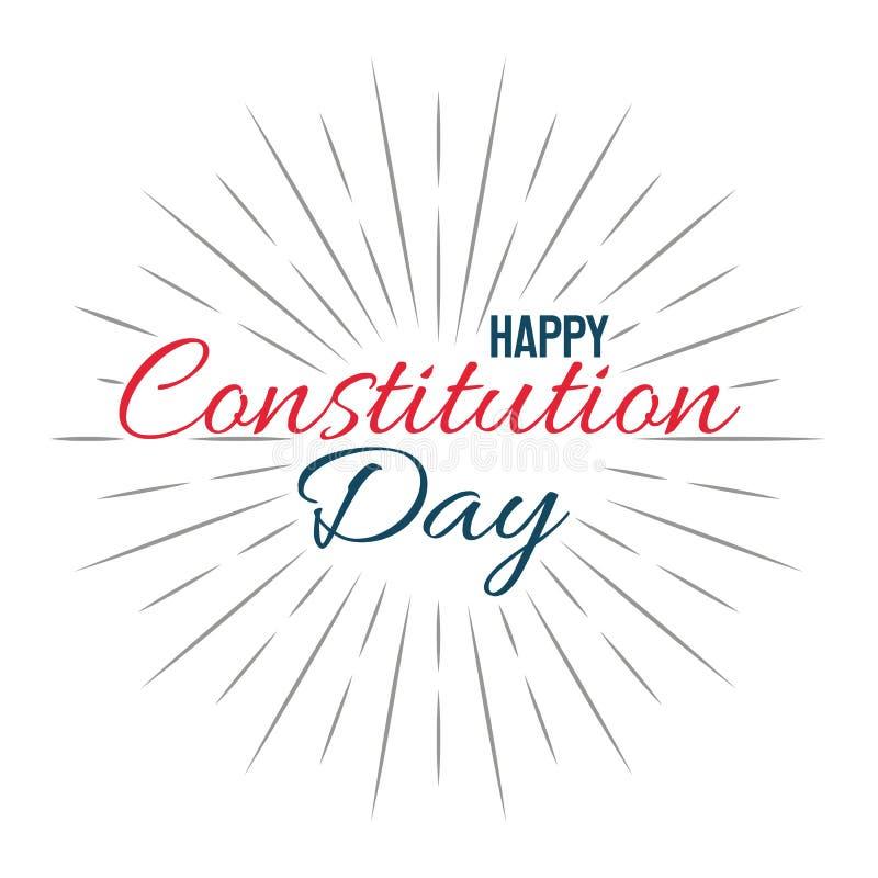 Glücklicher Konstitutions-Tag! Lokalisierte Illustration des Vektors Beschriftung auf weißem Hintergrund stock abbildung