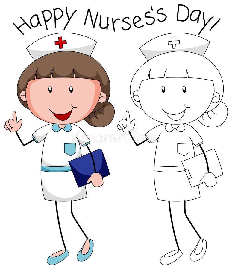 Glücklicher Krankenschwestercharakter des Gekritzels lizenzfreie abbildung