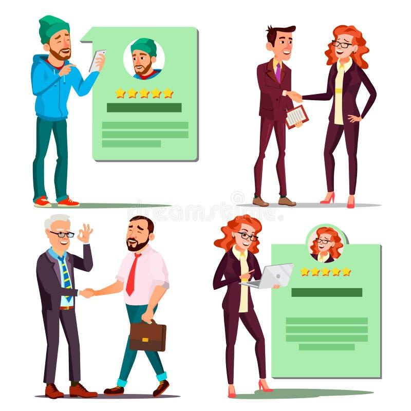 Glücklicher Kunden-gesetzter Vektor Positive Bewertung Lächelnde Leute teilhaberschaft Lokalisierte flache Zeichentrickfilm-Figur lizenzfreie abbildung