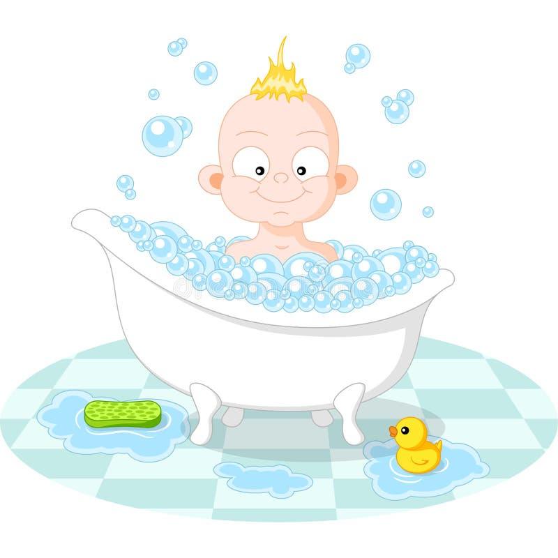 Glücklicher lächelnder Junge im Bad vektor abbildung