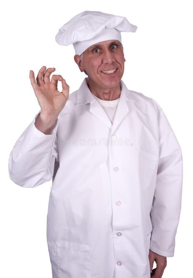 Glücklicher lächelnder männlicher Chef oder Koch, getrennt auf Weiß stockbild