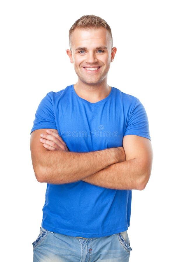 Glücklicher lächelnder Mann lokalisiert auf weißem Hintergrund lizenzfreie stockfotos