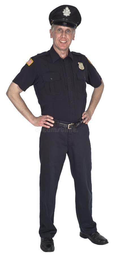 Glücklicher lächelnder Polizeibeamte Cop oder Polizist lokalisiert lizenzfreie stockfotos