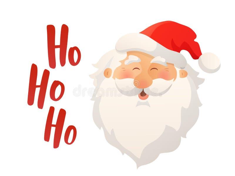 Glücklicher lächelnder Santa Claus-Kopf mit rotem Hut und Bart Katze entweicht auf ein Dach vom Ausländer lizenzfreie abbildung