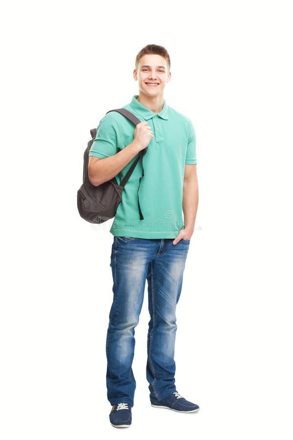 Glücklicher lächelnder Student mit Rucksack stockbilder
