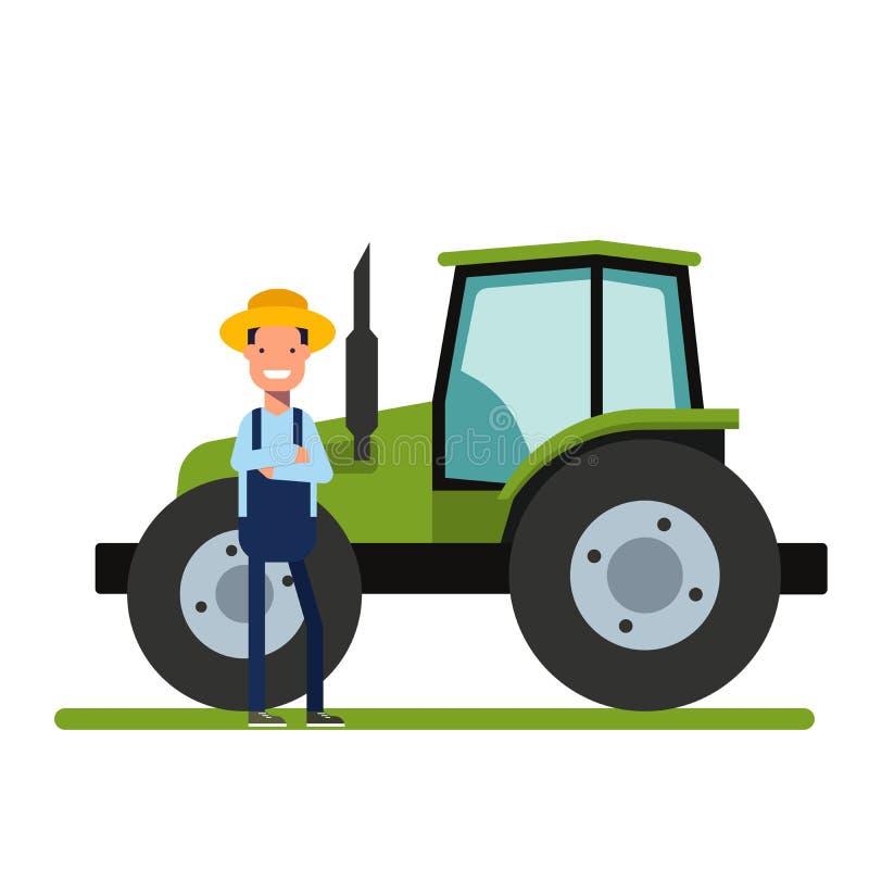 Glücklicher Landwirt, der nahe bei dem neuen Traktor steht Maschinerie für die Landwirtschaft Die Arbeitskraft auf den Plantagen  lizenzfreie abbildung