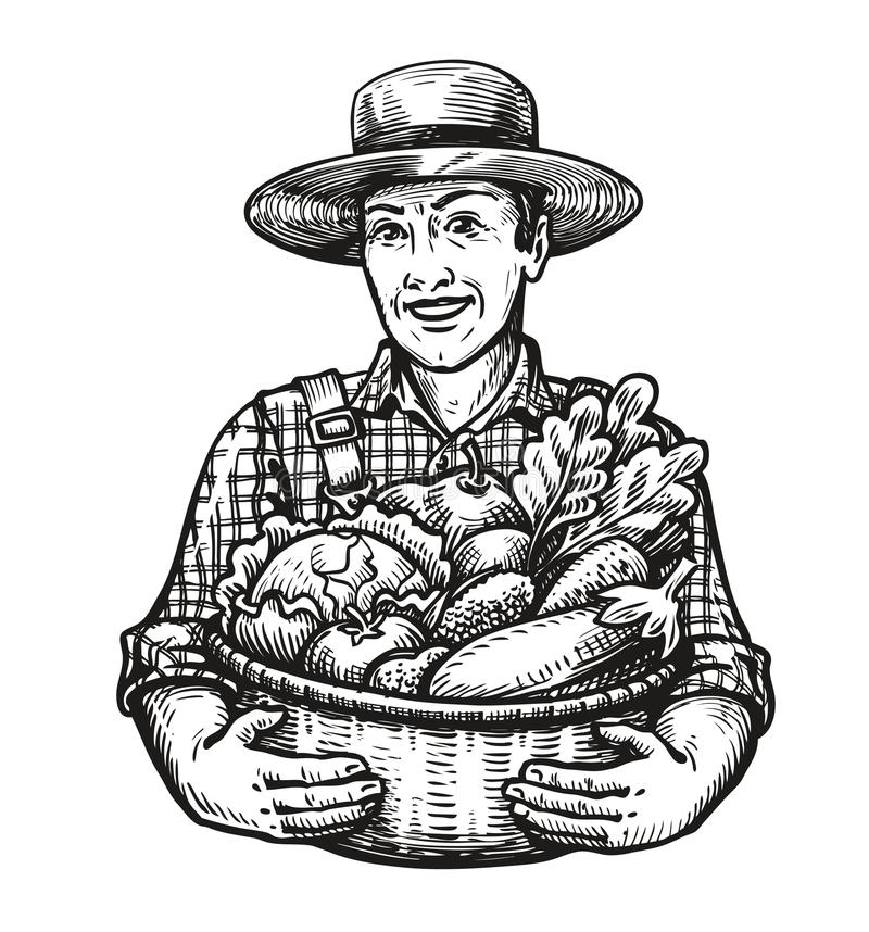 Glücklicher Landwirt hält einen Weidenkorb voll vom Frischgemüse Bauernhof, Ernte, Landwirtschaftskonzept Skizzenvektor stock abbildung