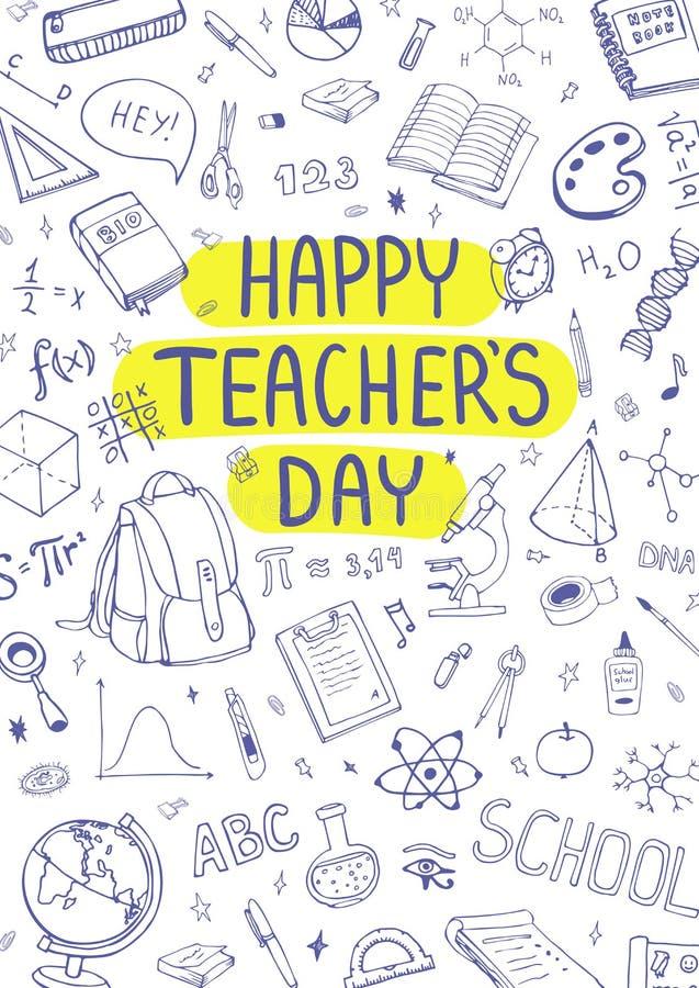 Glücklicher Lehrer ` s Tag Schulbedarfgekritzel Flüchtiger Hintergrund, Zusammensetzung Hand gezeichnete vektorabbildung lizenzfreies stockbild