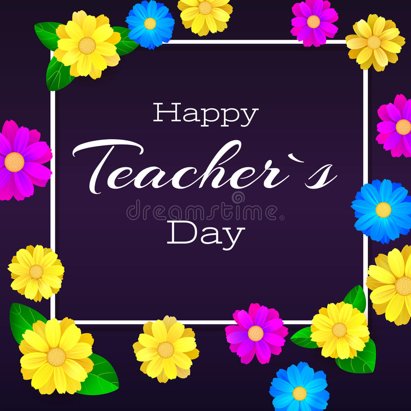 Glücklicher Lehrertag Grußfahne für Ihre Glückwunschkarten Das realistische colorfull, hell, Frühling blüht auf Dunkelheit lizenzfreie abbildung