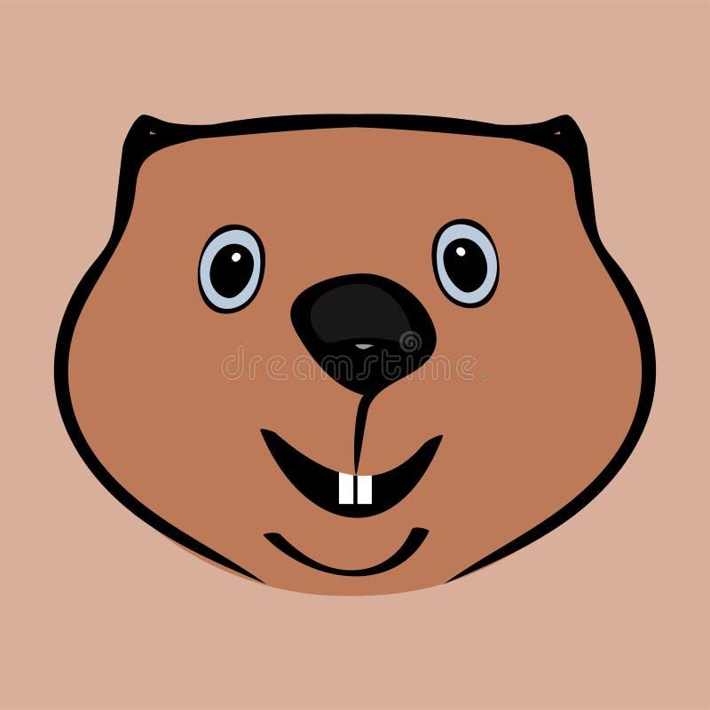 Glücklicher lustiger netter Kopf Groundhog Days lizenzfreie abbildung