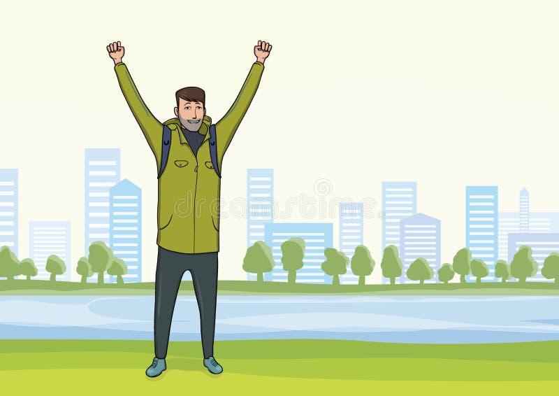 Glücklicher Mann auf dem Morgenspaziergang im Stadt Park Ein Tourist mit ihren Händen oben, eine Geste des Erfolgs zu den Zielen  stock abbildung