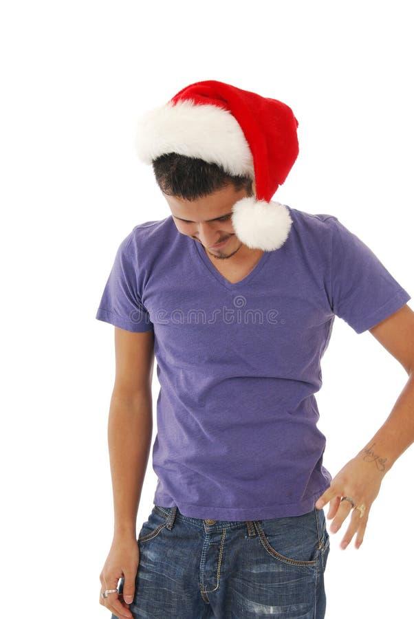 Glücklicher Mann auf Weihnachten stockbilder