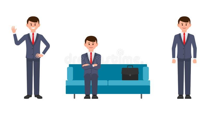 Glücklicher Mann, der auf blauem Sofa mit den gekreuzten Händen, dem Wellenartig bewegen und dem Lächeln sitzt Vektorillustration lizenzfreie abbildung