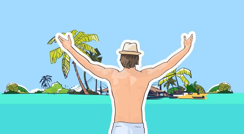 Glücklicher Mann in der Hut-Badebekleidung auf Strand-Seeufer-Händen herauf hintere Ansicht-tropische Sommer-Ferien lizenzfreie abbildung