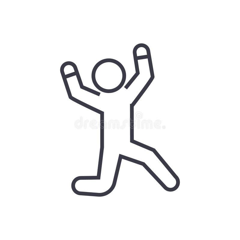 Glücklicher Mann, der lineare Ikone, Zeichen, Symbol, Vektor auf lokalisiertem Hintergrund springt vektor abbildung