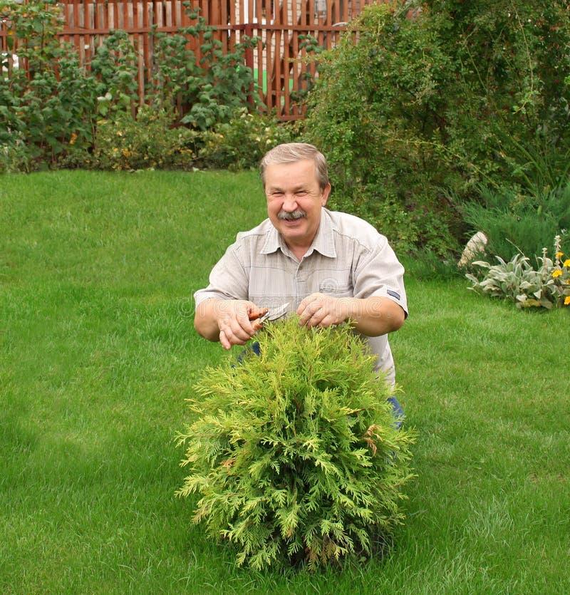 Glücklicher Mann in einem Garten lizenzfreie stockfotografie